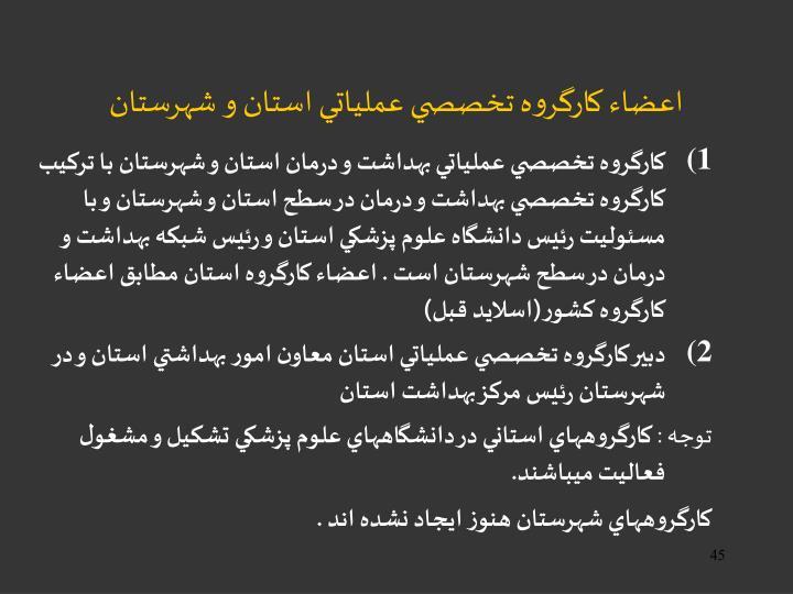 اعضاء كارگروه تخصصي عملياتي استان و شهرستان