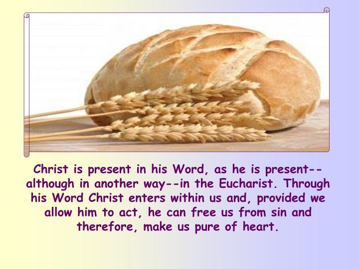 Christ is present in his Word, as he is present--although in another way--in the Eucharist. Through his Word Christ enters within us and, provided we allow him to act, he can free us from sin and therefore, make us pure of heart.