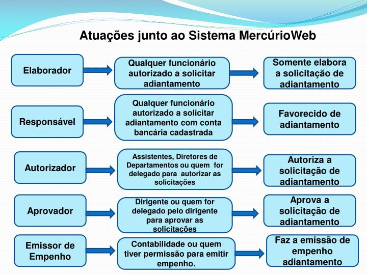 Atuações junto ao Sistema MercúrioWeb