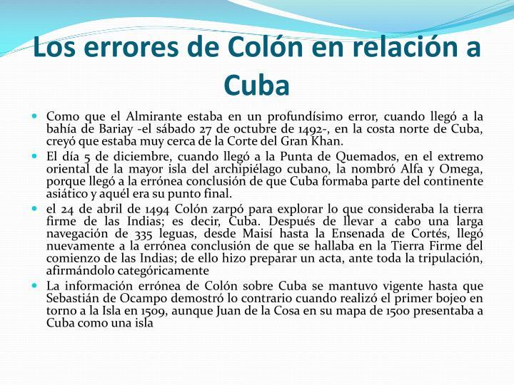 Los errores de Colón en relación a Cuba