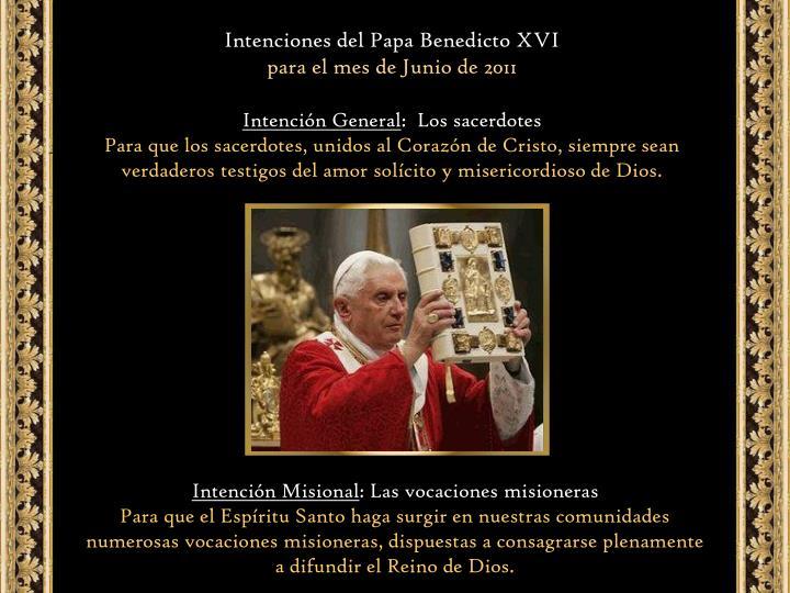 Intenciones del Papa Benedicto XVI