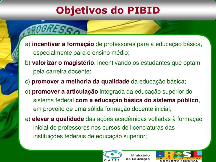 Objetivos do PIBID