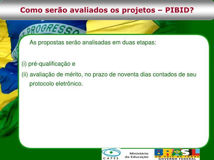 Como serão avaliados os projetos – PIBID?
