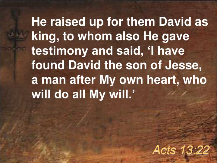 He raised up for them David as king, to whom also He gave testimony and said, 'I have found David the son of Jesse, a man after My own heart, who will do all My will.'