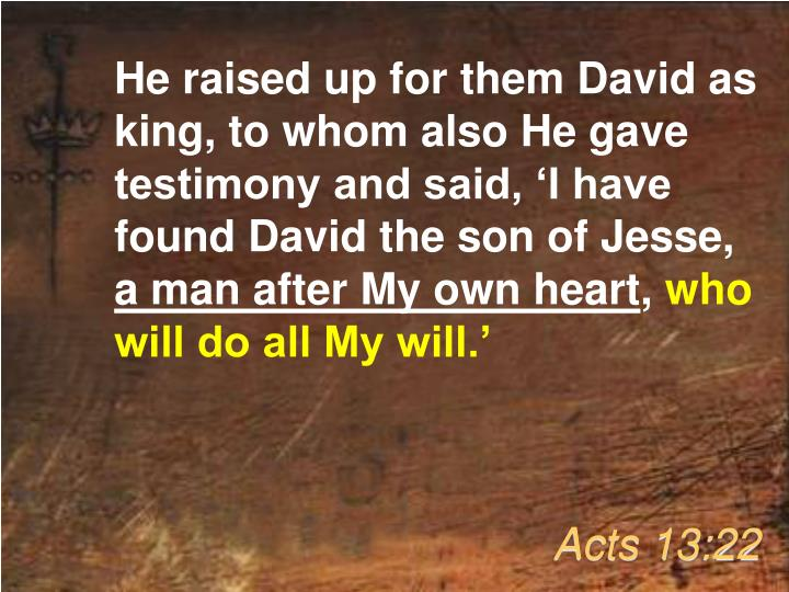 He raised up for them David as king, to whom also He gave testimony and said, 'I have found David the son of Jesse,