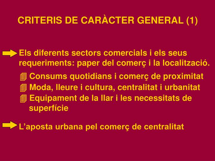 Els diferents sectors comercials i els seus