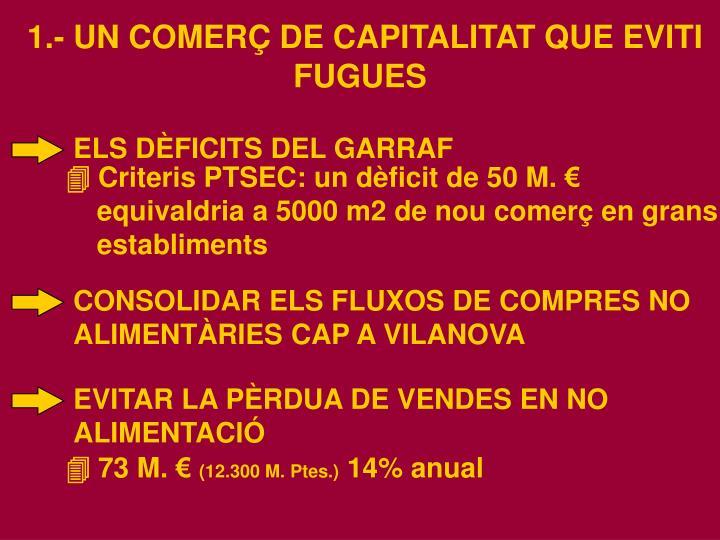 1.- UN COMERÇ DE CAPITALITAT QUE EVITI FUGUES