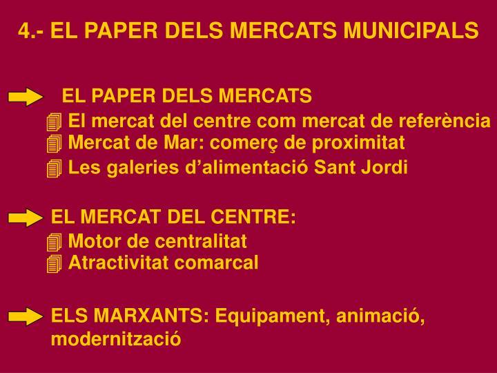 4.- EL PAPER DELS MERCATS MUNICIPALS