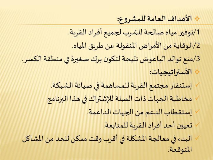 الأهداف العامة للمشروع: