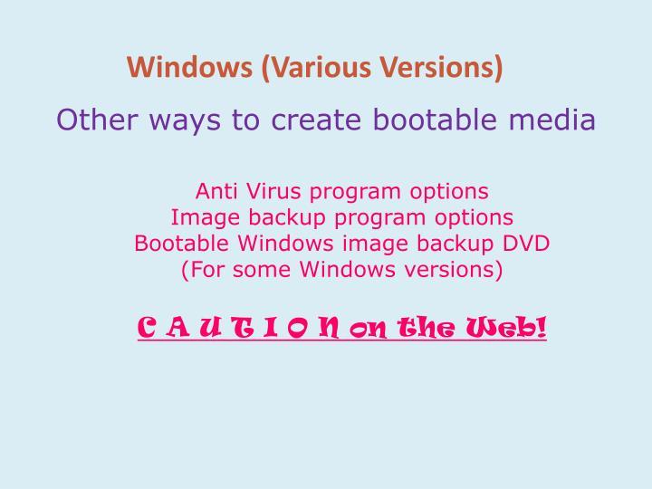 Windows (Various Versions)