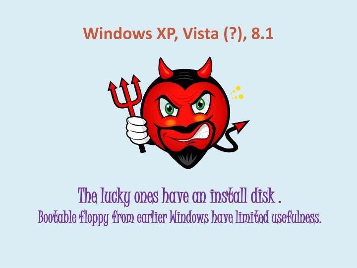 Windows XP, Vista (?), 8.1