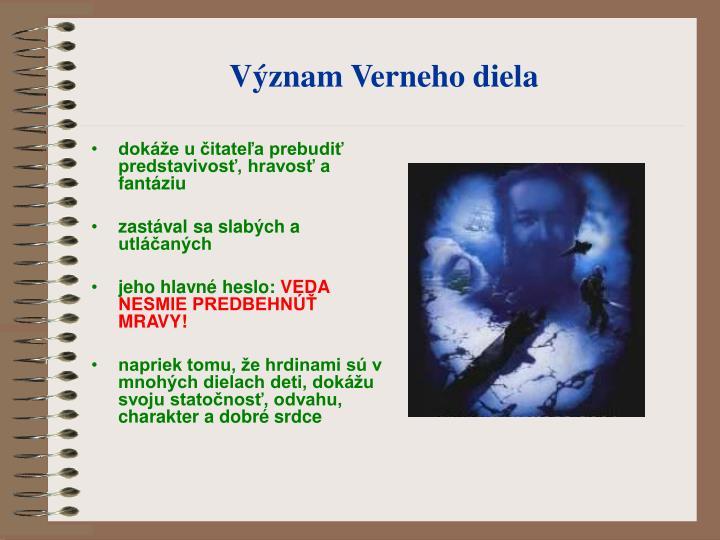 Význam Verneho diela