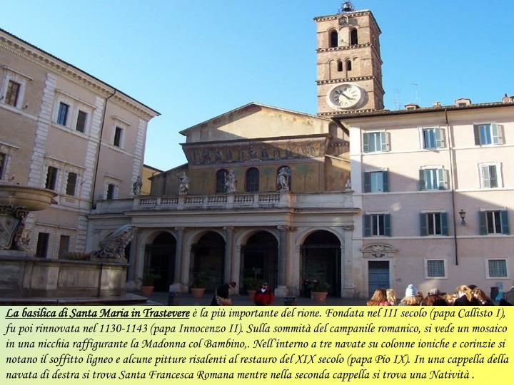 La basilica di Santa Maria in Trastevere