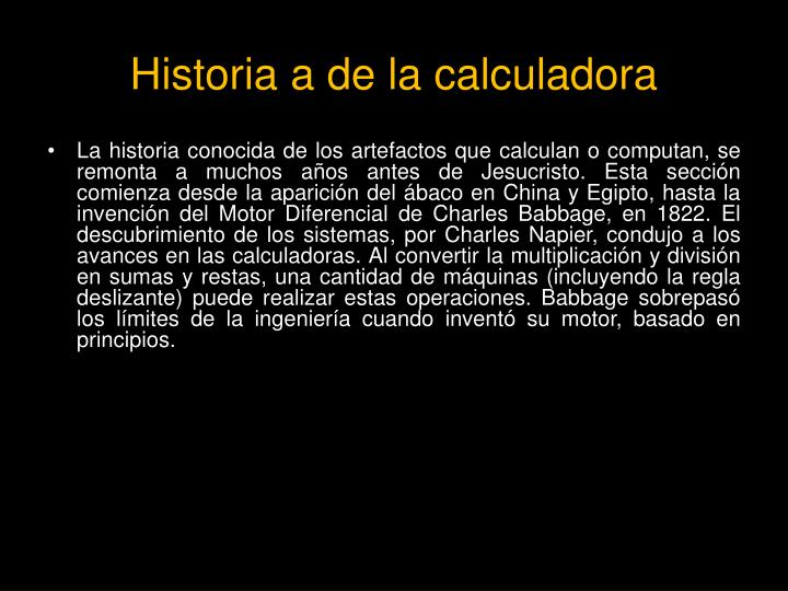 Historia a de la calculadora