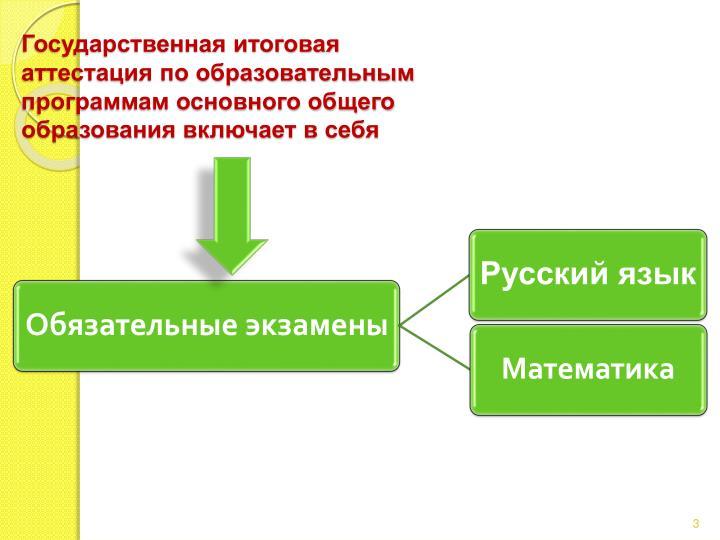 Государственная итоговая аттестация по образовательным программам основного общего образования включает в себя