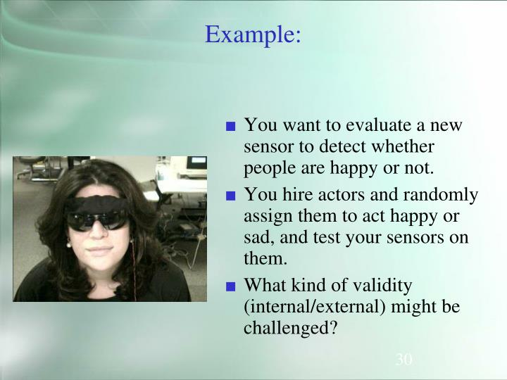 You want to evaluate a new sensor to detect whether people are happy or not.
