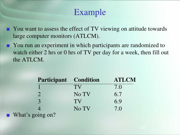 You want to assess the effect of TV viewing on attitude towards large computer monitors (ATLCM).