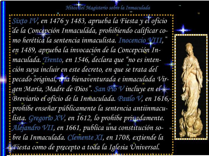 Hitos del Magisterio sobre la Inmaculada
