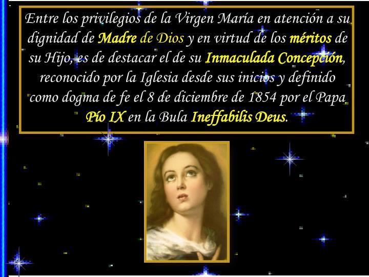 Entre los privilegios de la Virgen María en atención a su dignidad de