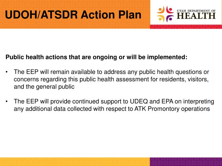 UDOH/ATSDR Action Plan