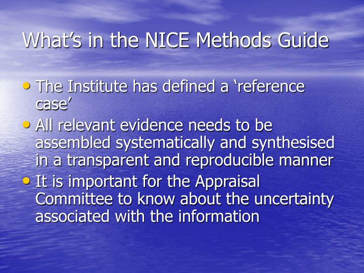 What's in the NICE Methods Guide
