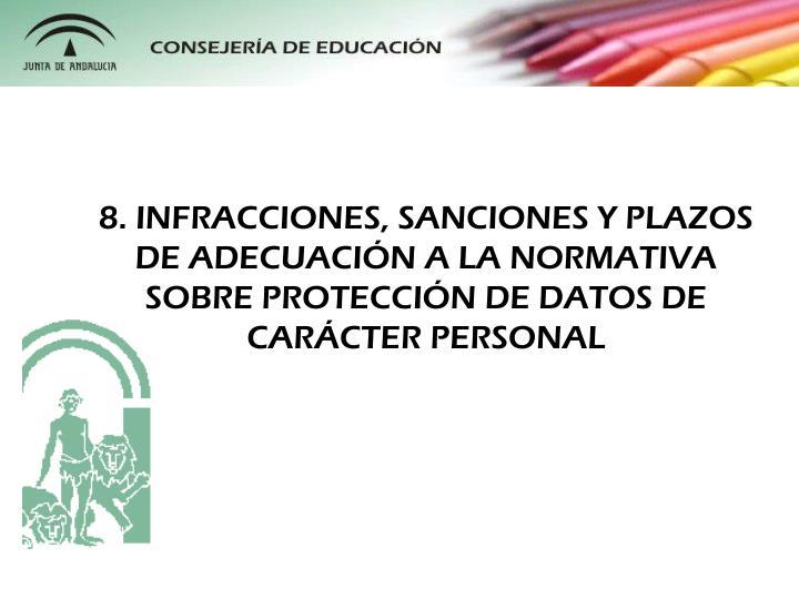 8. INFRACCIONES, SANCIONES Y PLAZOS DE ADECUACIN A LA NORMATIVA SOBRE PROTECCIN DE DATOS DE CARCTER PERSONAL