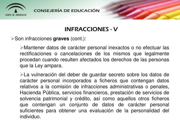 INFRACCIONES - V