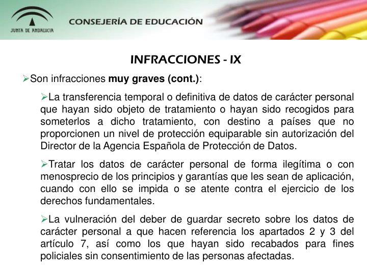 INFRACCIONES - IX