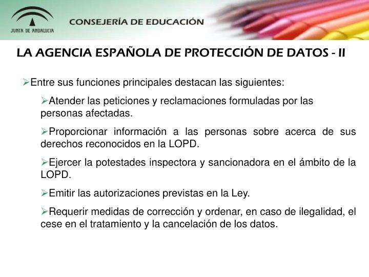 LA AGENCIA ESPAOLA DE PROTECCIN DE DATOS - II