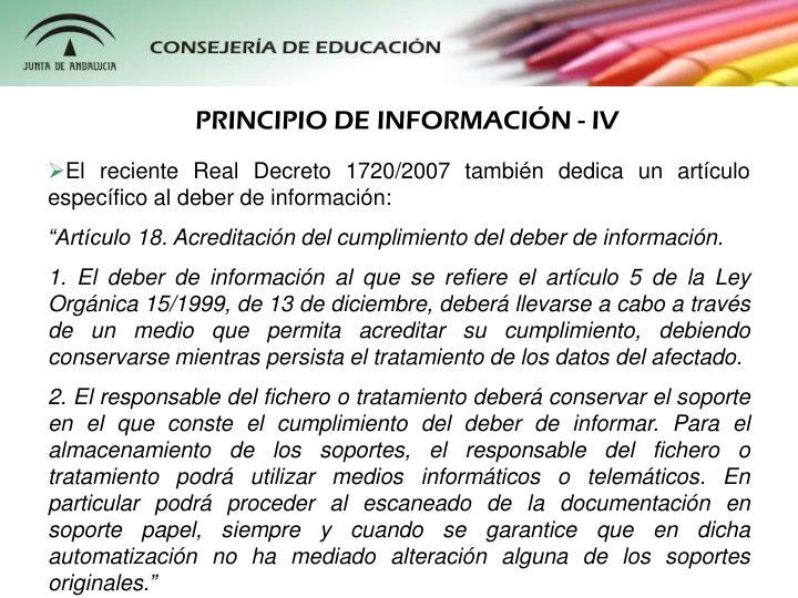 PRINCIPIO DE INFORMACIN - IV