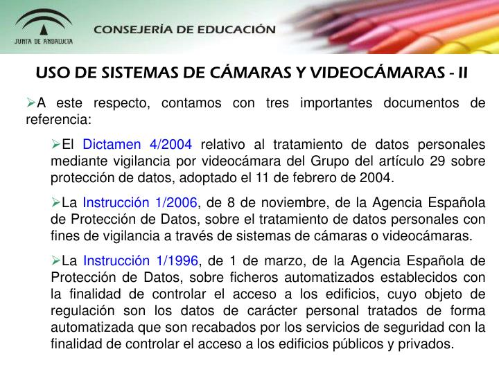 USO DE SISTEMAS DE CMARAS Y VIDEOCMARAS - II