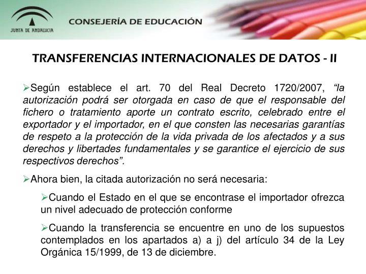 TRANSFERENCIAS INTERNACIONALES DE DATOS - II