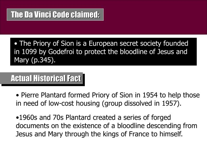 The Da Vinci Code claimed: