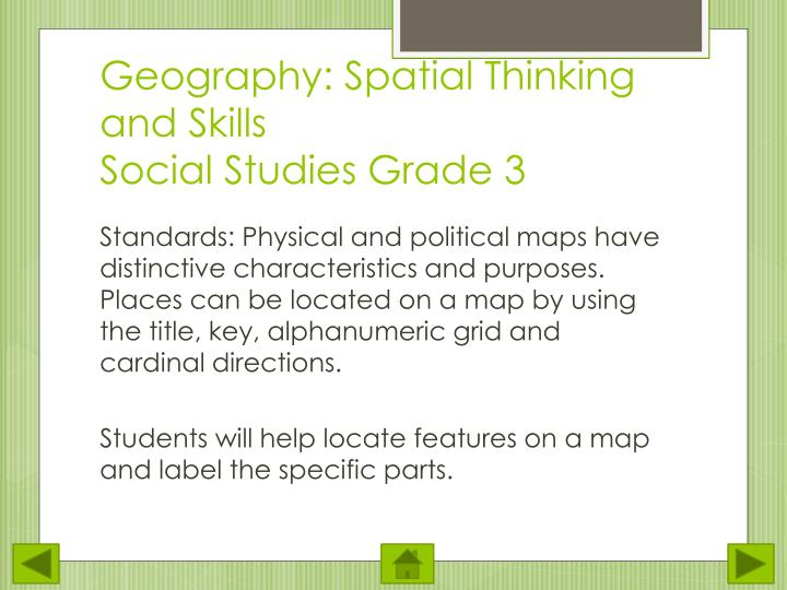 Geography spatial thinking and skills social studies grade 3