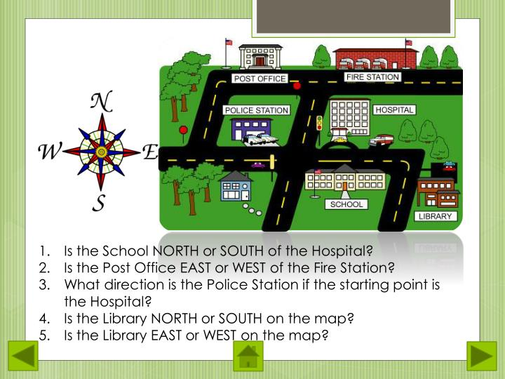 Is the School NORTH or SOUTH of the Hospital?