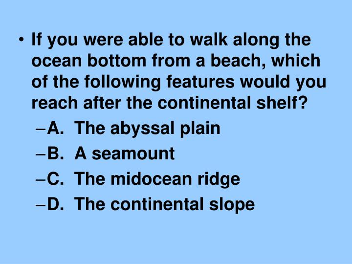 If you were able to walk along the ocean bottom from a beach, which of the following features would you reach after the continental shelf?