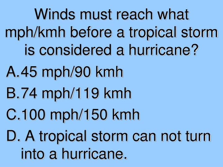 Winds must reach what mph/kmh before a tropical storm is considered a hurricane?