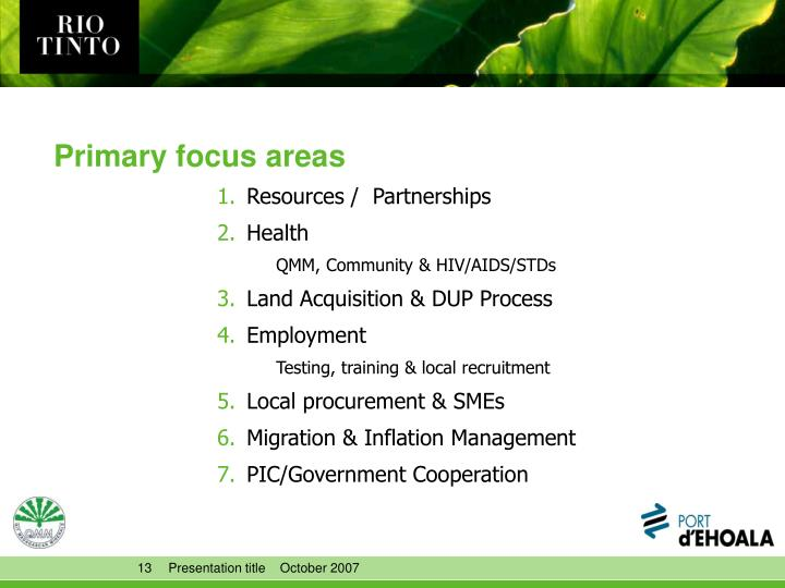 Primary focus areas