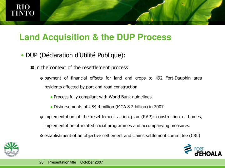 Land Acquisition & the DUP Process