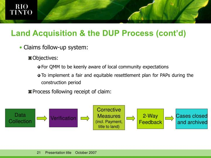 Land Acquisition & the DUP Process (cont'd)
