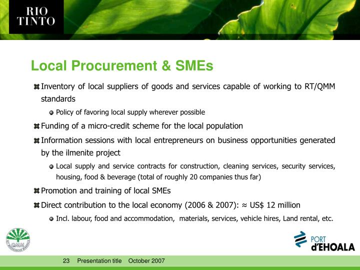 Local Procurement & SMEs