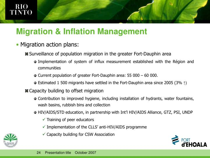 Migration & Inflation Management