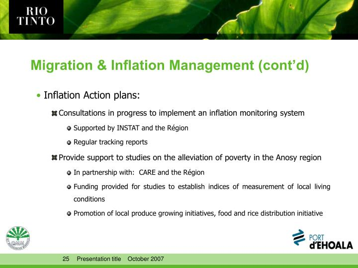 Migration & Inflation Management (cont'd)