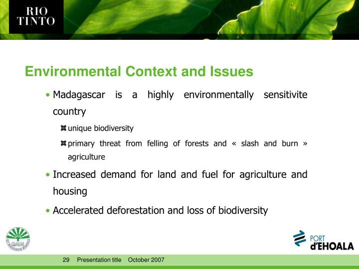 Environmental Context and Issues
