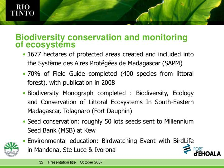 Biodiversity conservation and monitoring of ecosystems