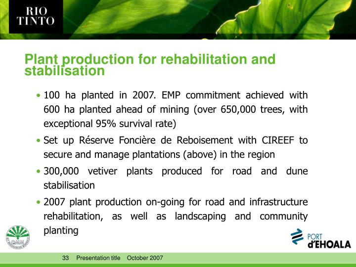 Plant production for rehabilitation and stabilisation