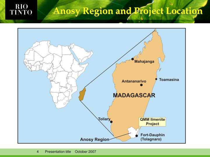 Anosy Region and Project Location