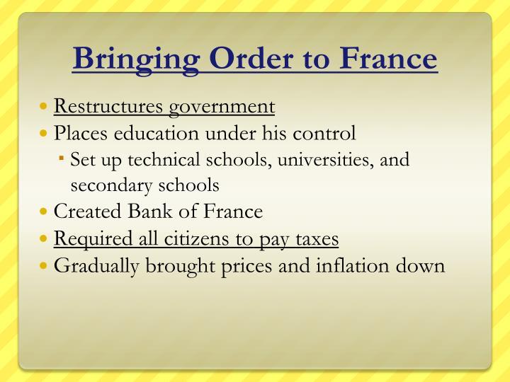 Bringing Order to France