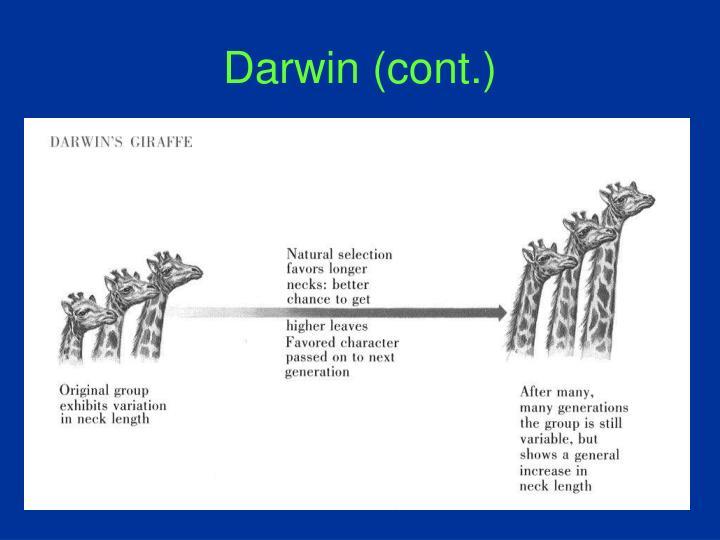 Darwin (cont.)