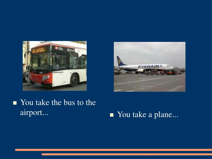 You take the bus to the airport...